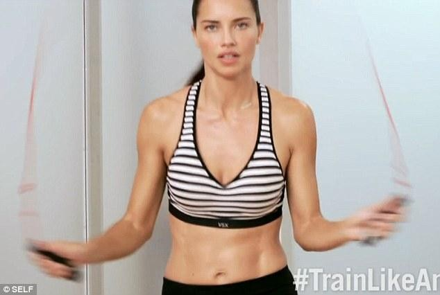 Adriana Lima skips to keep fit