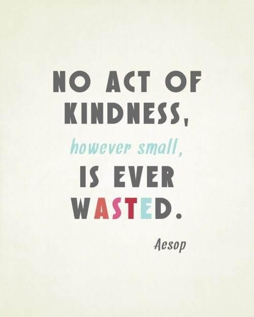 No act of kindness, however small, is ever wasted